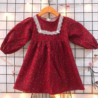 Đầm vintage phong cách Hàn Quốc cho bé 1-7 tuổi chất dạ mỏng phối ren tinh tế và đáng yêu BBShine D075 thumbnail