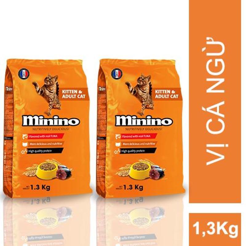 Combo 2 gói thức ăn cho mèo Minino Tuna Flavored 1.3kg