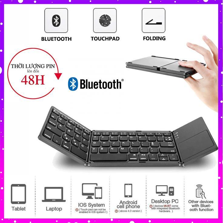 [Video Thực Tế] Bàn phím không dây Bluetooth có track pad gấp gọn cho điện thoại/ máy tính bảng/ PC/ Laptop/ Android box (Mẫu 2019) Mai Lee