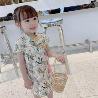 ABCKid Váy Bé Gái 1-6Y Váy Hoa Cho Bé Gái Trang Phục Sườn Xám Truyền Thống Trung Quốc Trẻ Em Quần Áo Cho Bé Gái