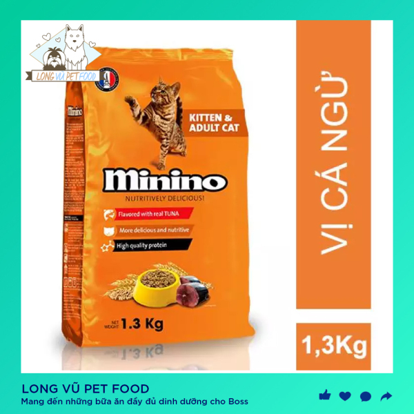 Thức Ăn Vị Cá Ngừ Dành Cho Mèo Mọi Lứa Tuổi - Thức ăn cho mèo Minino 1.3Kg, hạt cho mèo Minino