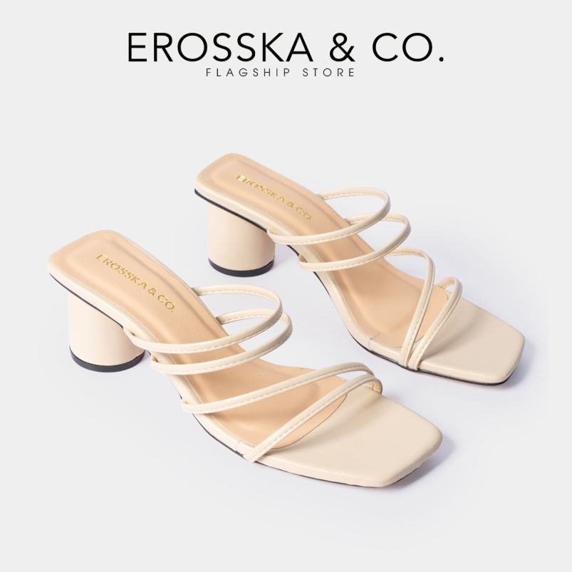 Dép nữ, Dép cao gót thời trang Erosska mũi vuông gót tròn phối dây quai mảnh kiểu dáng đơn giản cao 5cm EM038 (NU) giá rẻ