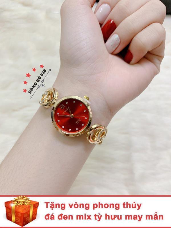 Đồng hồ nữ HALEI dây lắc thời trang ( Dây vàng mặt đỏ ) - TẶNG 1 vòng tỳ hưu phong thuỷ