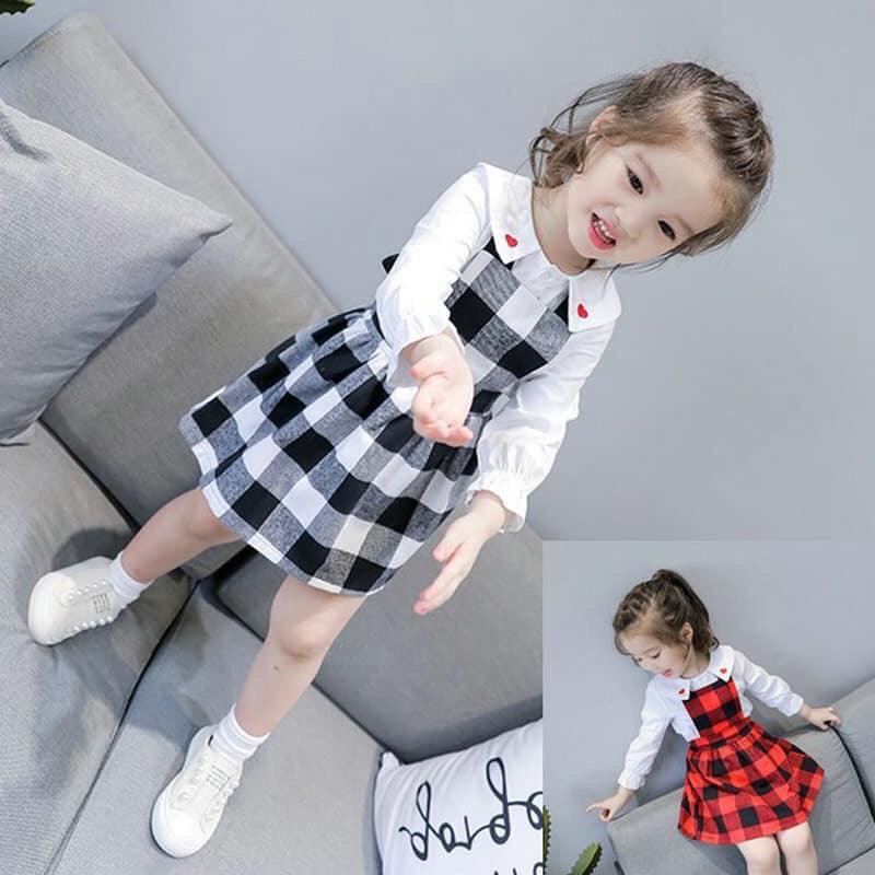 Giá bán [Kho buôn] Siêu phẩm set váy áo thu đông cho bé gái cực dễ thương, váy đầm bé gái, đồ bé gái
