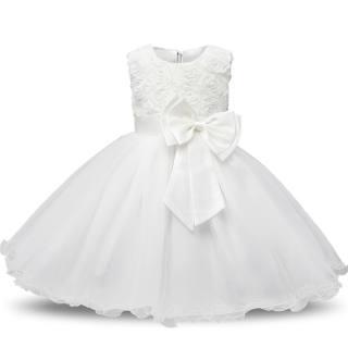NNJXD Váy Hoa Công Chúa Cho Bé Gái Mùa Hè Tutu Đầm Trẻ Em Dự Tiệc Sinh Nhật Đám Cưới Đầm Trắng Rửa Tội Rửa Tội Đầm Lễ Rửa Tội Màu Trắng Cho Bé Gái ĐầM Dạ HộI Trang Phục Trẻ Em Thiết Kế Thắt Nơ Cho Thiếu Niên