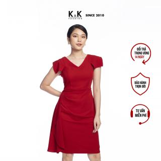 Đầm Công Sở Dáng Chữ A K&K Fashion KK105-20 Màu Đỏ Phối Bèo thumbnail