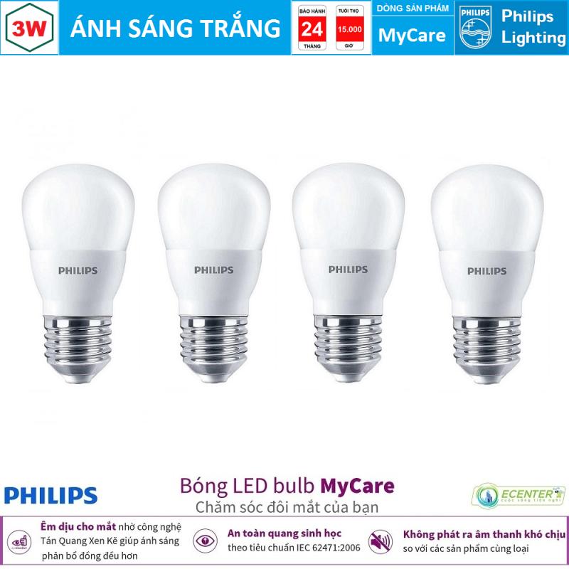 ( Bộ 4 ) Bóng Philips LEDBulb MyCare 3W 6500K/3000K P45 E27 ( Ánh Sáng Trắng & Vàng )