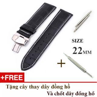 Dây đồng hồ da bò xịn SIZE 22mm, khóa bướm thép 316 (đen-B13) thumbnail