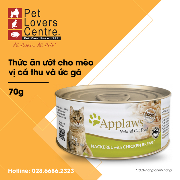 [70g] Thức ăn ướt cho mèo APPLAWS  TIN MACKEREL WITH CHICKEN BREAST (CATS) 70g