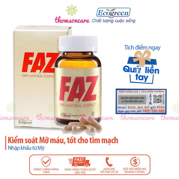FAZ - hỗ trợ Giảm mỡ máu, cholesterol - Có tem tích điểm tặng quà Hộp 30 viên, nhập khẩu từ Mỹ giá rẻ