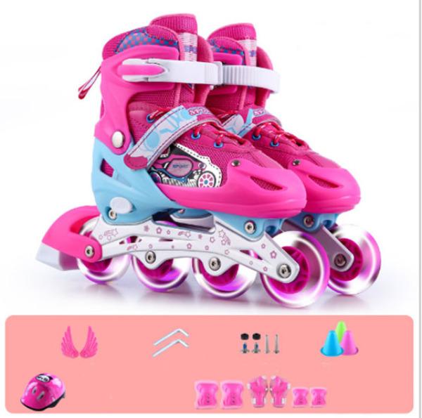 Giá bán Giầy trượt patin trẻ em có đèn flash tặng bảo vệ tay chân màu hồng