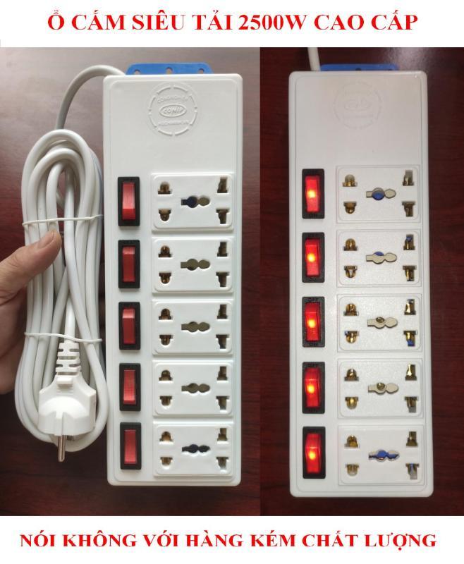 Ổ cắm dài SIÊU TẢI 2500W cao cấp+ BH 01 năm + Dây dài 05 mét + 05 Công tắc nguồn + 05 Đèn LED báo + 10 Ổ cắm lò xo nhíp chống giãn (bộ 01 sản phẩm)