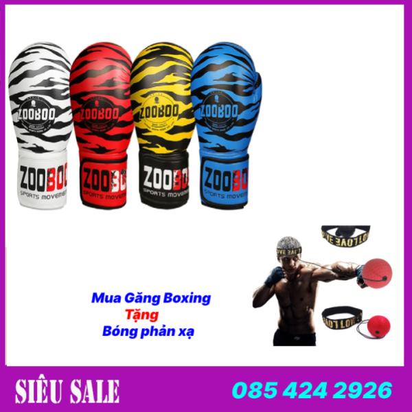 [ Cam Kết Hàng Chuẩn ] Găng bao tay đấm bốc boxing Zooboo hổ vằn + bóng phản xạ treo đầu - Thiết bị đấm bốc boxing chuyên nghiệp - Bảo hành 6 tháng