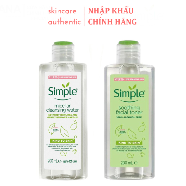 Combo Làm Sạch Simple Tẩy trang 200ml + Nước Hoa Hồng, combo làm sạch da chăm soc da dưỡng ẩm cho da 200ml giá rẻ