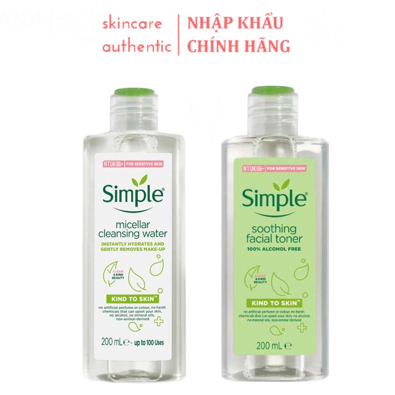 Combo Làm Sạch Simple Tẩy trang 200ml + Nước Hoa Hồng, combo làm sạch da chăm soc da dưỡng ẩm cho da 200ml