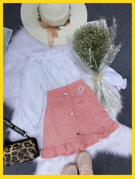 Set áo trễ vai và chân váy thời trangcó size từ 40-65kg (Kèm ảnh thật khách tự chụp)