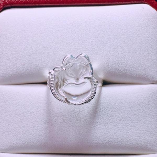 Nhẫn bạc mặt hồ ly đá phong thủy MS52