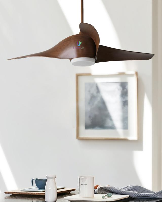 Quạt trần trang trí phòng khách 03 cánh nhựa cao cấp đèn LED 3 màu điều khiển từ xa QAT053