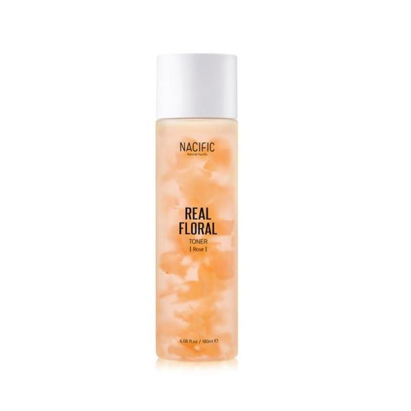 Nước cân bằng dưỡng trắng da hoa hồng Nacific -REAL FLORAL TONER ROSE 180ml nhập khẩu