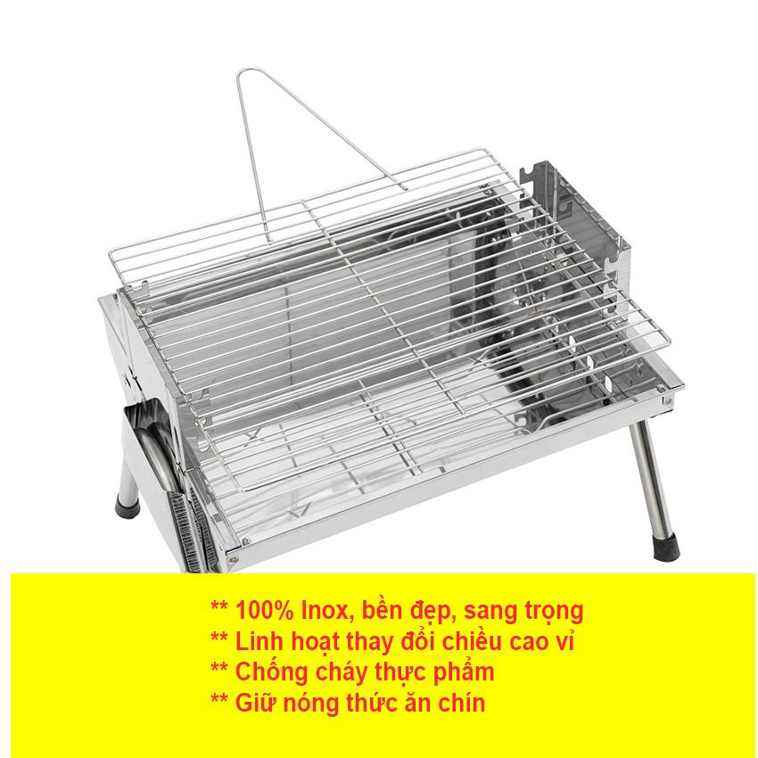 Bếp nướng than hoa TopV VCS thay đổi chiều cao vỉ, Inox không gỉ sét, chống cháy thực phẩm, an toàn sức khỏe, không cần quạt