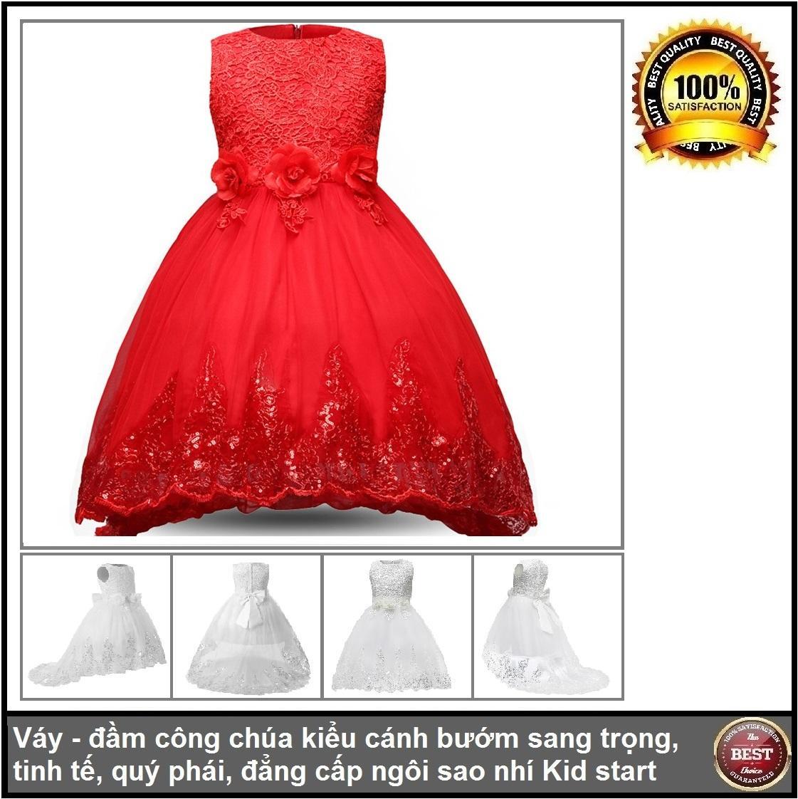 Giá bán Váy đầm công chúa đuôi họa tiết ren hoa cho bé gái từ 4 đến 7 tuổi, đẳng cấp ngôi sao nhí