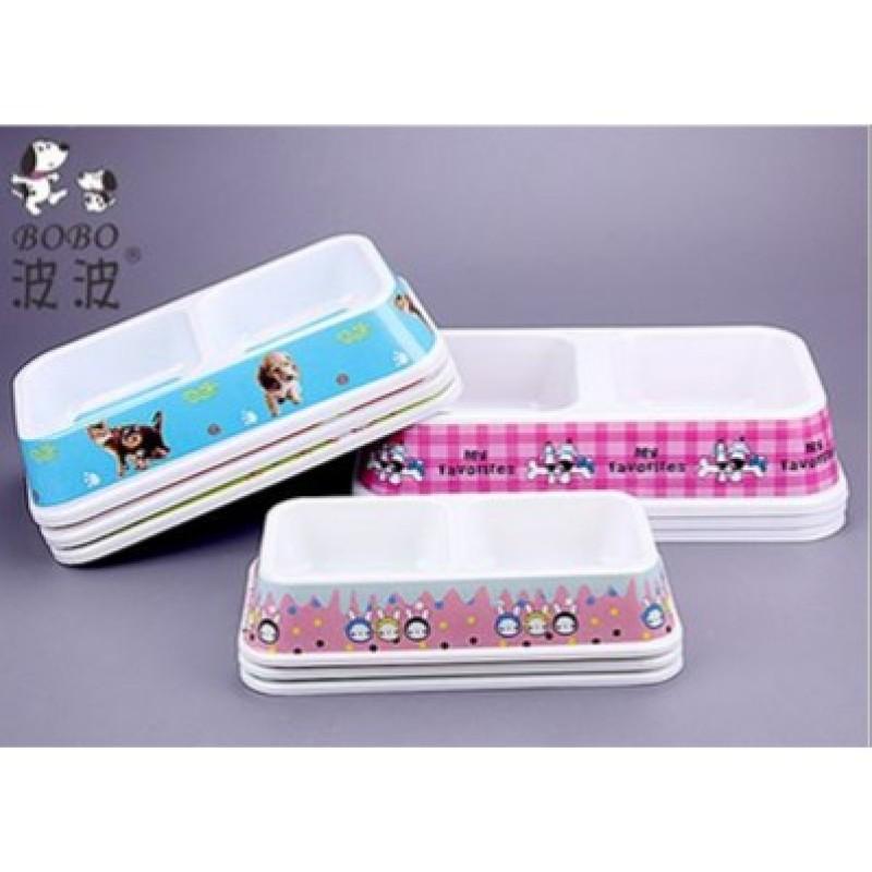 Bát ( Khay ) ăn đôi nhựa cao cấp - hình chữ nhật dành cho thú cưng.