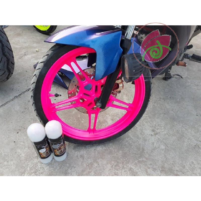 53  Chai sơn xịt sơn xe máy Samurai 53** màu hồng huỳnh quang , sơn xịt phản quang màu hồng