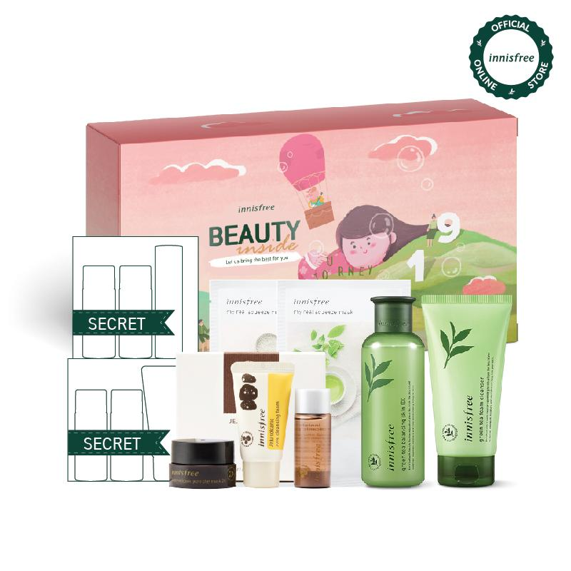 [Phiên bản đặc biệt BEAUTY INSIDE Box 2019 ] Bộ sản phẩm làm sạch và chăm sóc cân bằng ẩm từ trà xanh Innisfree Beauty Inside Box 1 - Green Tea Set - Khám phá quà tặng may mắn khi mở hộp