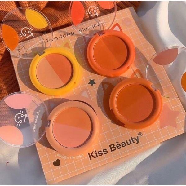 Má hồng-hộp má hồng tròn mini 2 màu kiss beauty-má hồng kèm phấn mắt tone cam siêu tiết kiệm-phấn mắt, má trang điểm giá rẻ