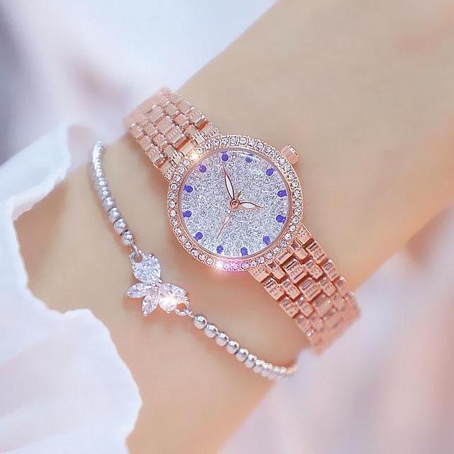 Đồng hồ nữ Bee Sister 1598 dây đính đá mặt viền đá đẳng cấp bán chạy