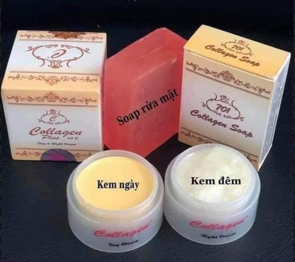Bộ kem collagen plus vit E chính hãng (kem ngày + kem đêm + soap rửa mặt) hàng chính hãng giá rẻ