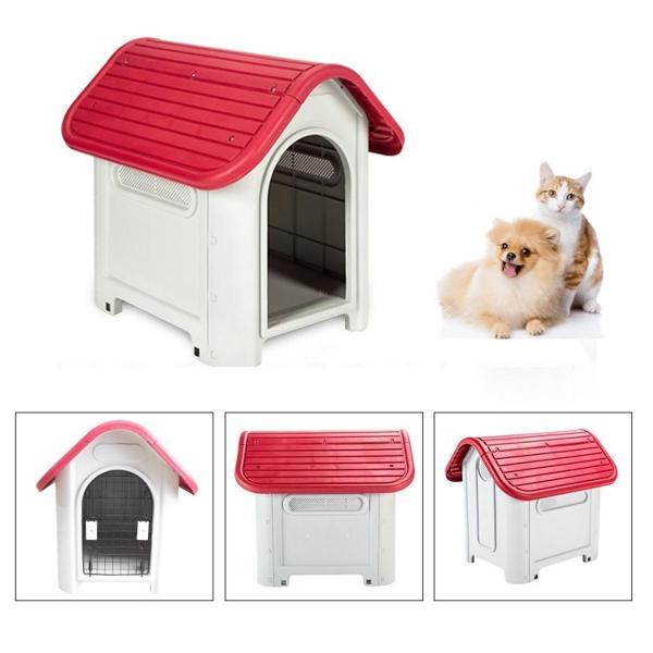 HCM– Nhà cho chó mèo ở - NHÀ NHỰA MÁI VÒM cao cấp (có 2 size) có cửa sắt