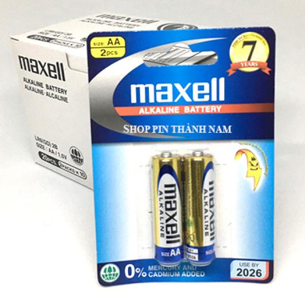 Pin AA Maxell tiểu alkaline LR6 vỉ 2 viên