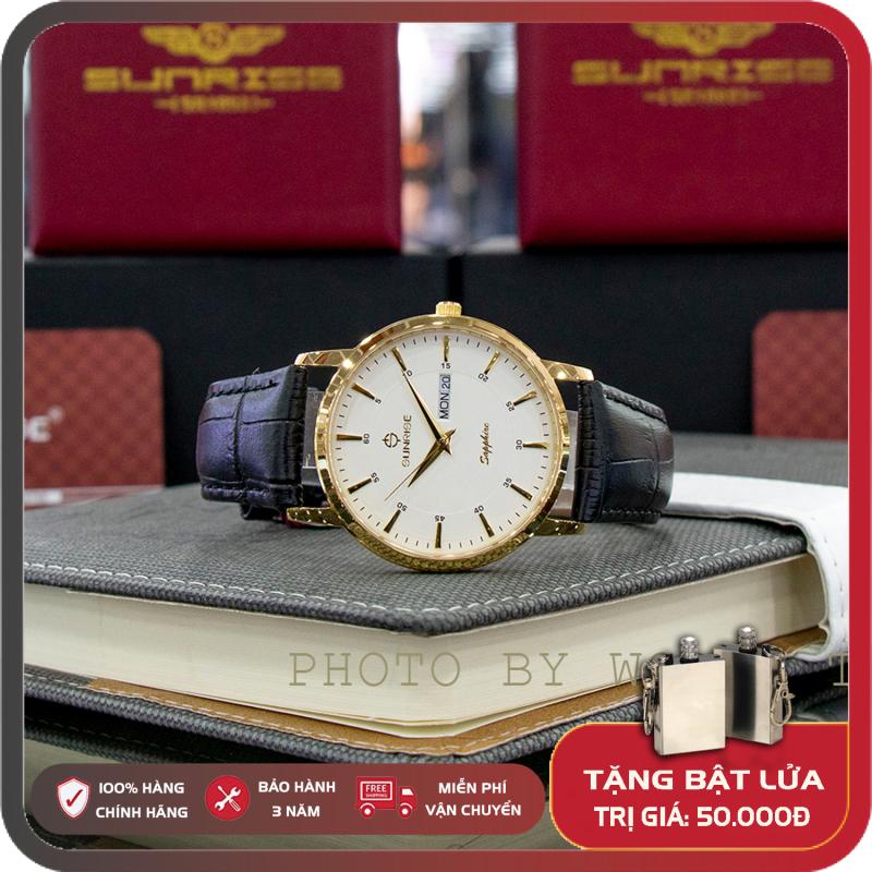 Đồng hồ Nam Chính Hãng Sunrise DM1216SWA G Full Box, Thẻ BH 3 Năm, Kính Sapphire Chống Nước, Chống Xước, Dây Da Cao Cấp
