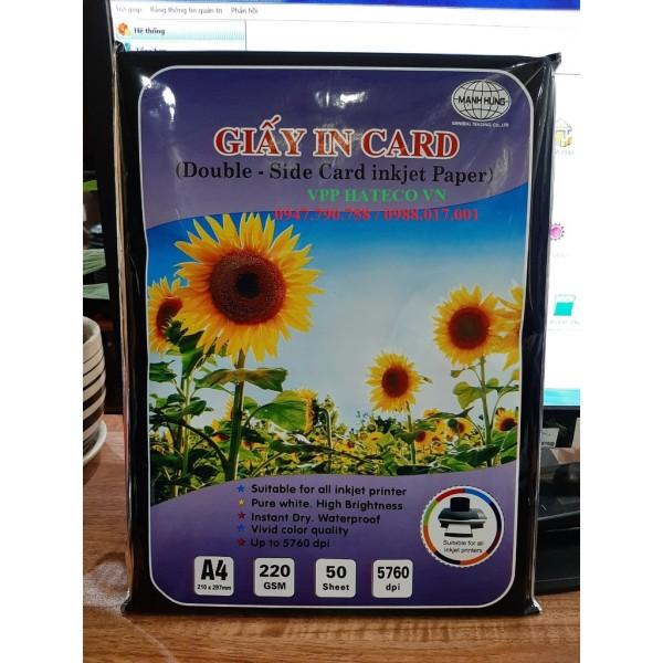 Bảng giá Giấy in Card 2 mặt 220 Mạnh Hưng (50 tờ) - Giấy in card visit Mạnh Hưng Phong Vũ