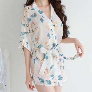 Áo Choàng Ngủ Hoa 5034 ,Váy Ngủ Kimono Tặng Kèm Quần lót Lọt Khe Siêu Xinh thumbnail