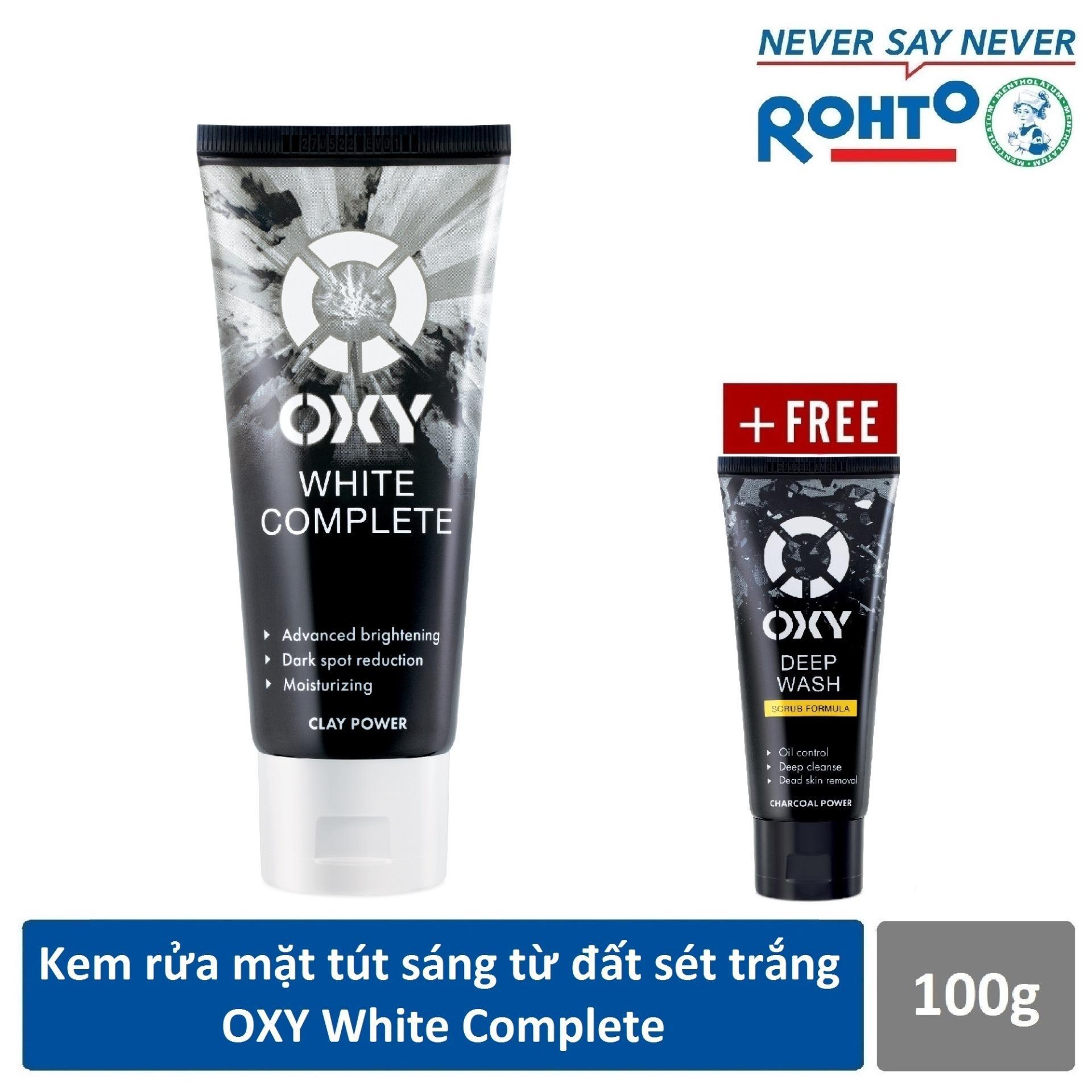 Kem rửa mặt tút sáng từ đất sét trắng OXY White Complete 100g + Tặng Kem rửa mặt có hạt OXY Deep Wash Scrub 25g cao cấp