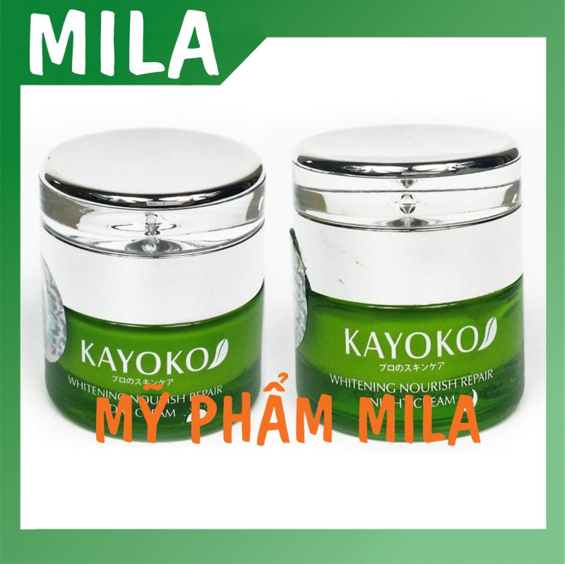 Mỹ phẩm ngày và đêm Kayoko xanh, kem nám và dưỡng trắng da, mỹ phẩm kayoko. giá rẻ