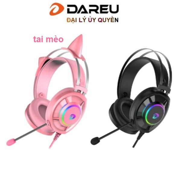 Bảng giá Tai nghe Gaming Dareu EH469 Pink / Đen Black LED RED tai mèo Phong Vũ