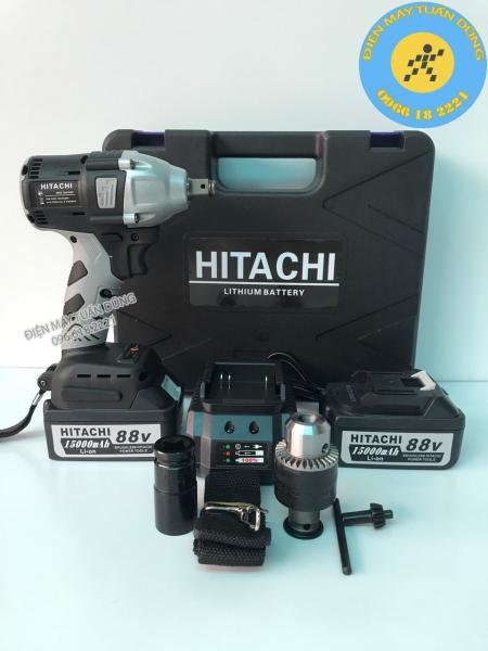 Máy vặn ốc bulong pin - Máy siết bulong - Máy bắt vít Hitachi 88V 2 TRONG 1 - 2 Pin 15000 mAh - TẶNG đầu MĂNG RANH - đầu bulong 22