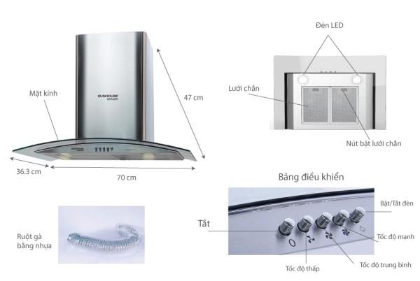 Bảng giá Máy hút mùi kính cong Sunhouse Mama MM6719-70 *1 Điện máy Pico