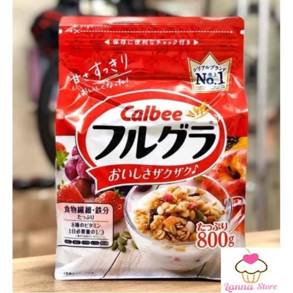 [HSD T12/2021] Ngũ cốc trái cây Calbee màu đỏ 800g - Nhật Bản hương vị thơm ngon hấp dẫn