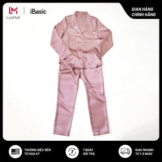 Bộ đồ mặc nhà nữ lụa satin tay dài mỏng nhẹ thoáng mát iBasic HOMW013 thumbnail