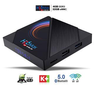 Tv box bộ nhớ 32G Ram 4G hỗ trợ Bluetooth tivi box tích hợp tính năng điều khiển giọng nói nhưng chưa bao gồm remote giọng nói độ phân giải 4K cực nét bảo hành 12 tháng 1 đổi 1 H96MAX box tivi android