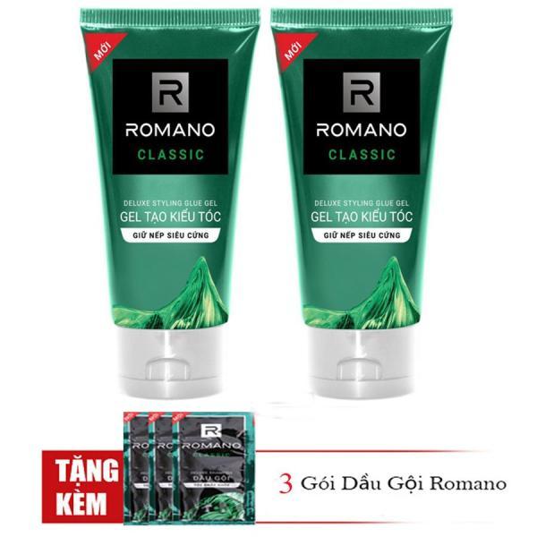 Romano: Combo 2 tuýp gel vuốt tóc giữ nếp siêu cứng Romano Classic (150ml*2)+Tặng 3 gói dầu gội