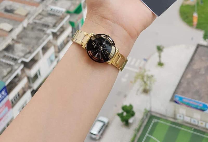 đồng hồ nữ halei dây vàng mặt đen,máy nhật mã số 50251