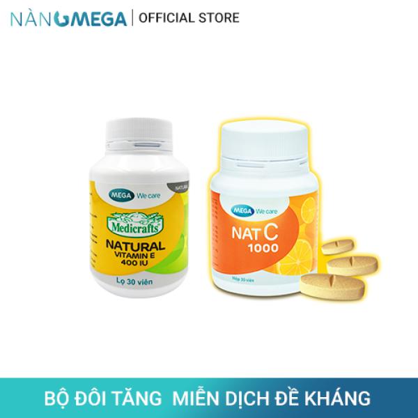 Bộ sản phẩmVitamin E 400 IU hộp 30 viên cung cấp vitamin E chống oxy hóa và viên uống Nat C 1000mg cung cấp vitamin C tăng đề kháng nhập khẩu