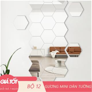 Bộ 12 gương dán tường hình lục giác, gương dán tường, kích cỡ 4cm x 4cm, gương dán tường trang trí phòng, gương trang trí, hình lục giác thumbnail