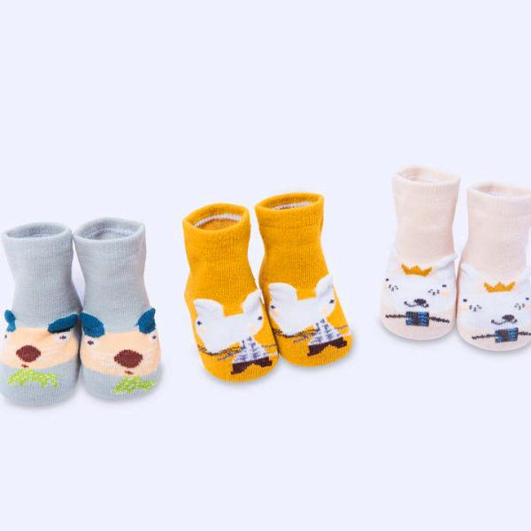Giá bán Set 3 đôi tất len cổ thấp cho bé 0-2 tuổi chất len cotton dày dặn thoáng khí hình thú lạ mắt phối màu sắc xinh xắn BBShine – T020