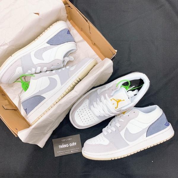 Giày Jordan low 1 ⚡️𝕋ổ𝕟𝕘 𝕂𝕙𝕠⚡️ Giày thể thao JD1 xanh xám cổ thấp nam nữ hàng full box bill